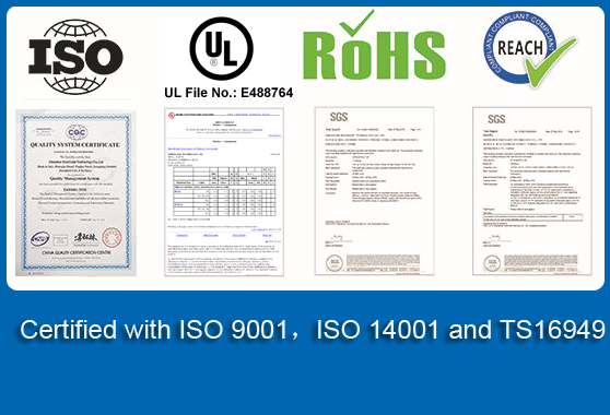 Certified with ISO 9001,ISO 14001 and TS16949